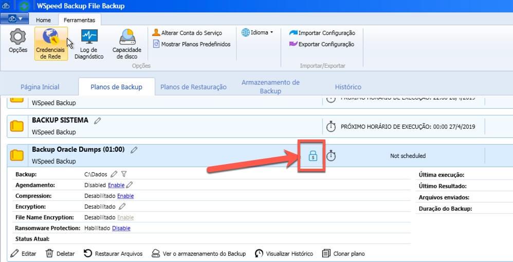 Proteção Ransomware Ativada no WSpeed Backup