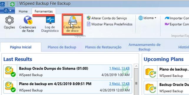 Relatorio de Capacidade de armazenamento de backup 1 - WSpeed Backup em Nuvem para Empresas