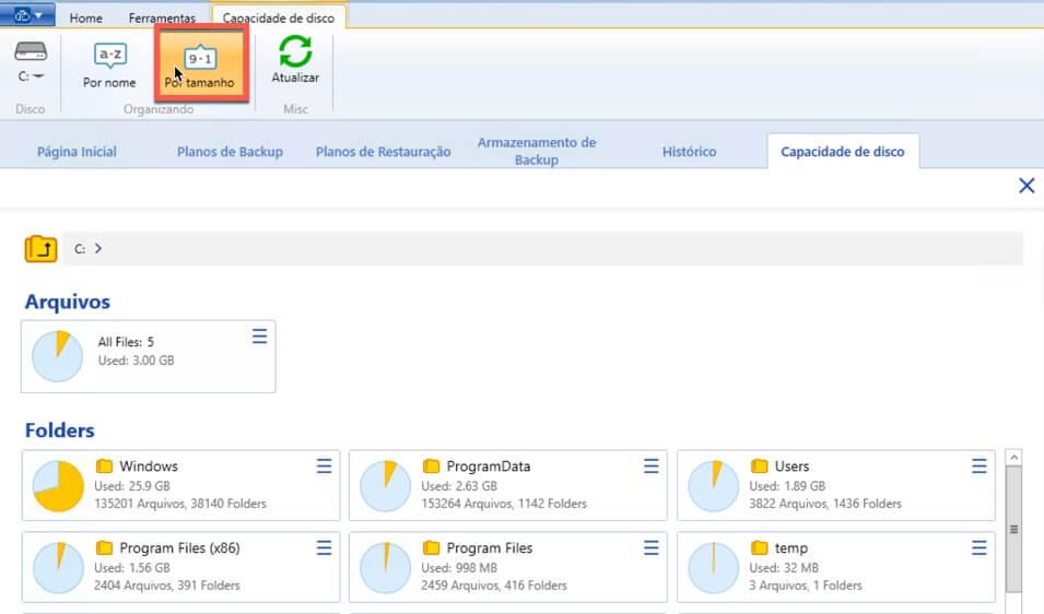 Relatorio de Capacidade de armazenamento de backup - Ordenar por Tamanho decrescente - WSpeed Backup em Nuvem para Empresas