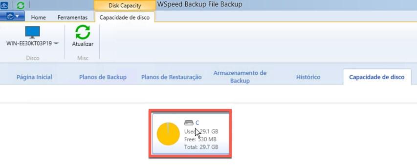 Relatorio de Capacidade de armazenamento de backup - Selecao de Drive - WSpeed Backup em Nuvem para Empresas