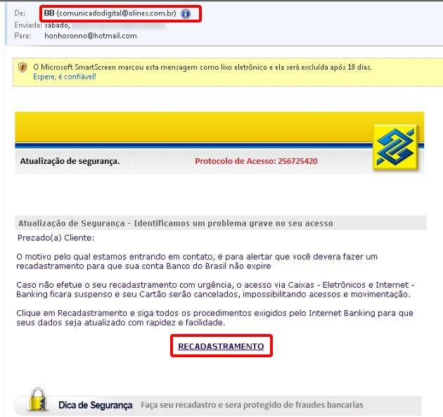 Email com Spam e Ransomware.