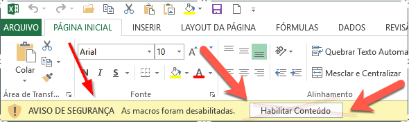 Nunca habilite as Macros do Word nem Excel